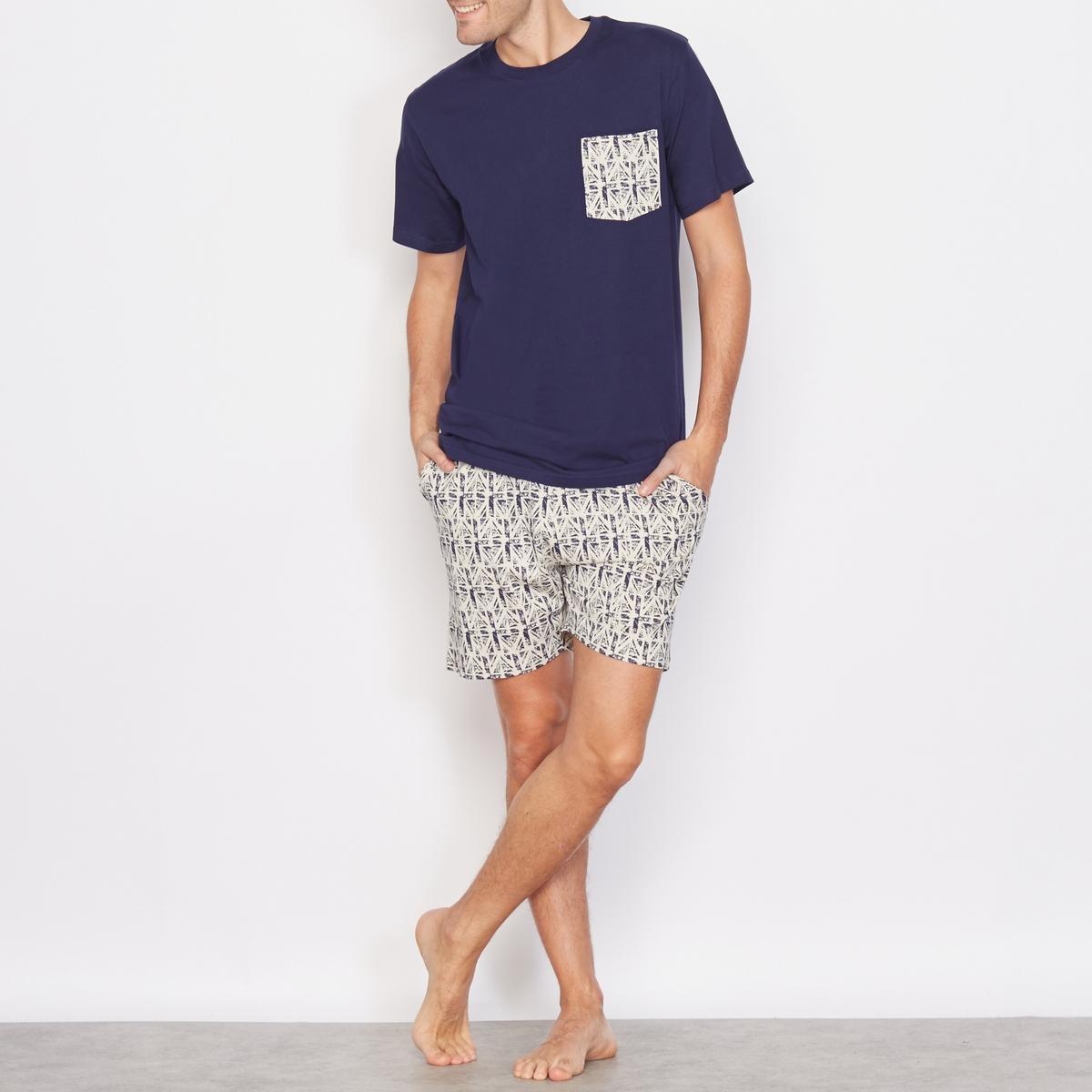 Пижама с шортами, 100% хлопкаСостав и описание:- Материал: 100% хлопка.- Марка: LES PETITS PRIX.Уход: машинная стирка при 30°C.<br><br>Цвет: синий морской