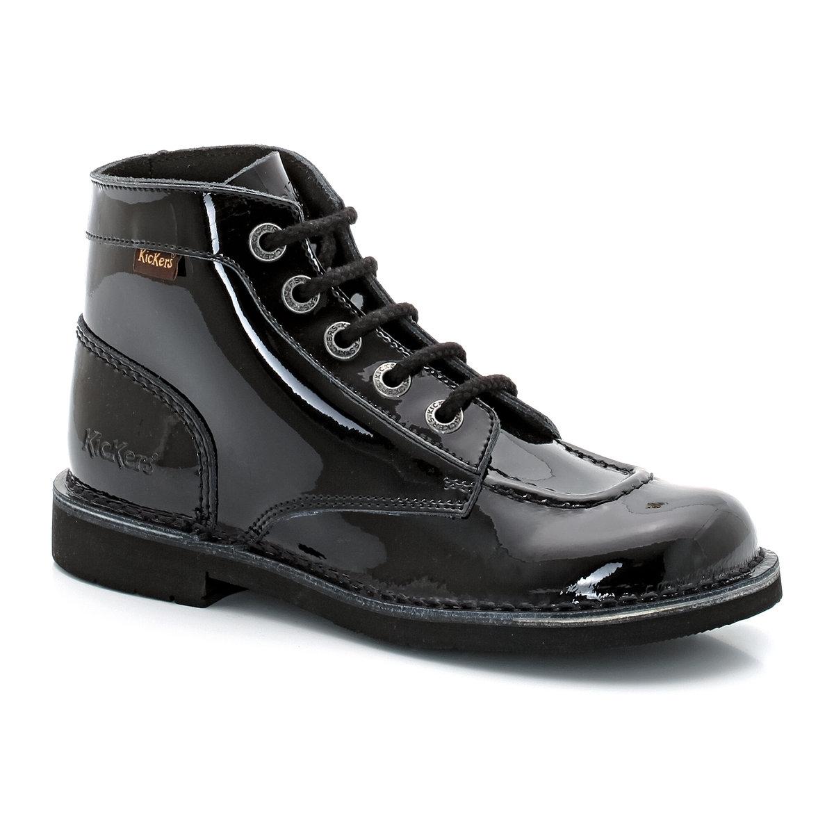 Ботинки Kick Col PermБотинки Kick Col Perm от KICKERSВерх : лакированная кожаПодкладка : шнуровкаСтелька : кожа Подошва : каучук.Высота каблука : 8 см<br><br>Цвет: Черный лак<br>Размер: 36.37