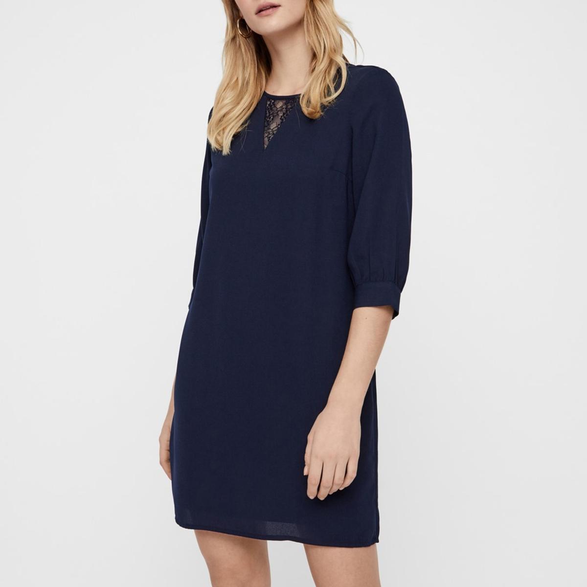 Платье La Redoute Короткое с рукавами XS синий