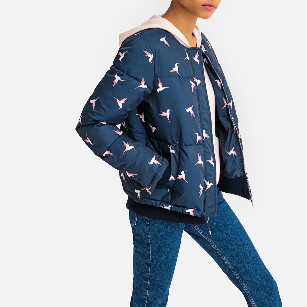 Куртка стеганая короткая с принтом птицы La Redoute Collections