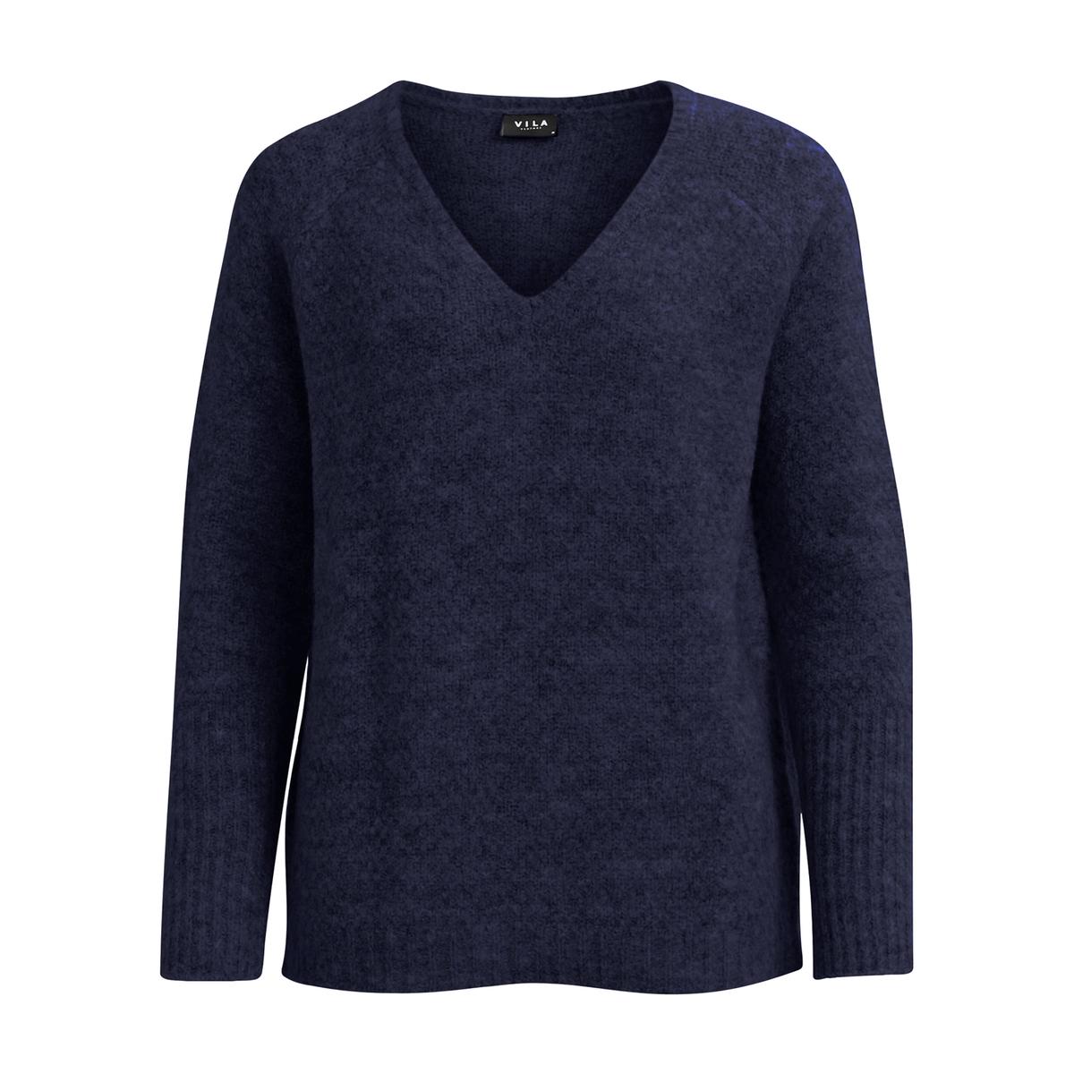 Пуловер с V-образным вырезом из тонкого трикотажаОписание:Детали •  Длинные рукава •   V-образный вырез •  Тонкий трикотаж Состав и уход •  30% шерсти, 45% акрила, 5% эластана, 20% полиамида •  Следуйте советам по уходу, указанным на этикетке<br><br>Цвет: синий морской,темно-бежевый<br>Размер: S