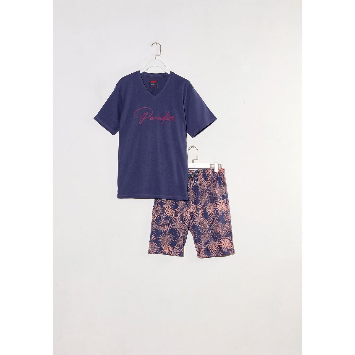 Фото - Пижама LaRedoute С шортами с рисунком пальмы XXL синий пижама laredoute с шортами в полоску m синий