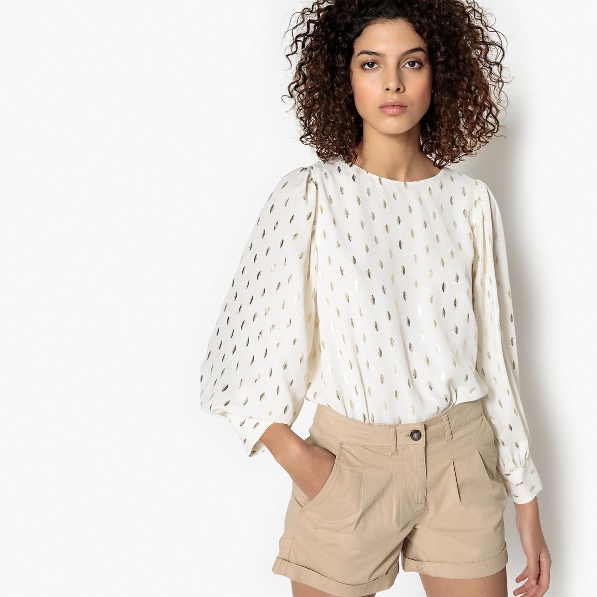 Блузка с круглым вырезом, графическим рисунком и длинными рукавами