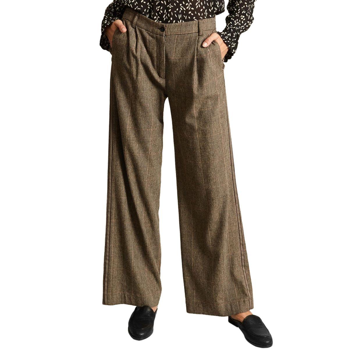 Pantalon Palito Large à Pinces Prince de Galles
