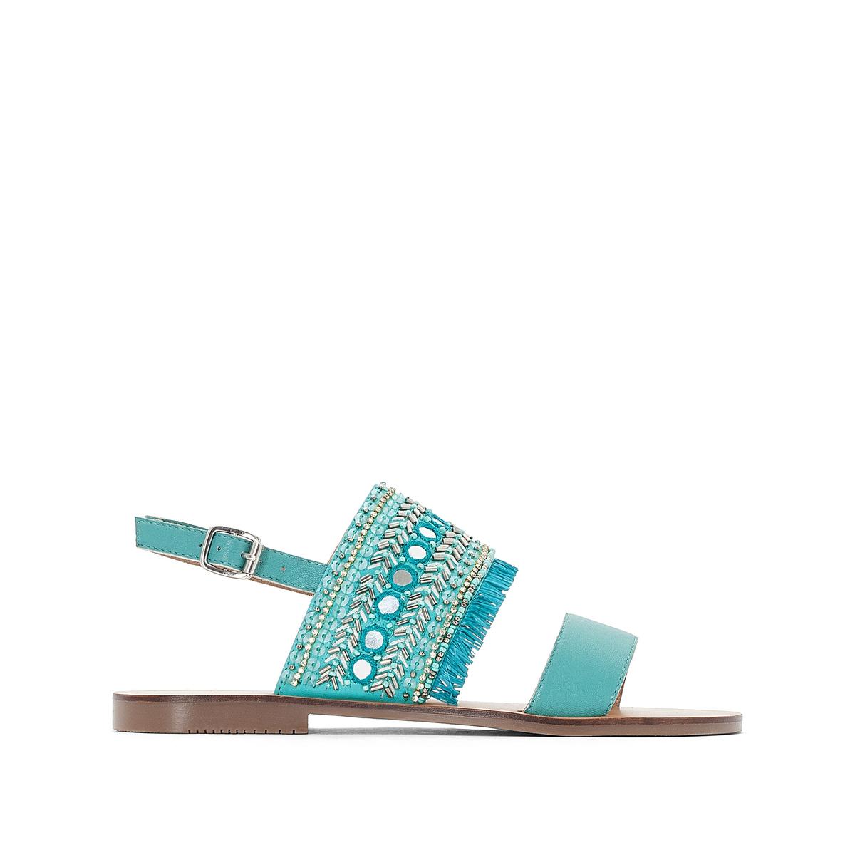 цена Сандалии La Redoute Кожаные 36 синий онлайн в 2017 году