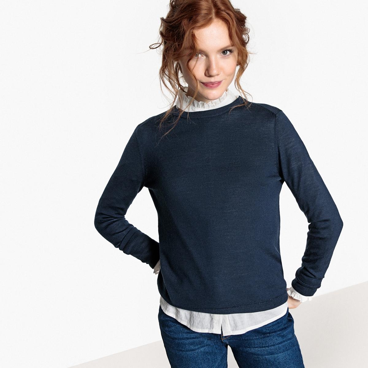 Jersey con cuello redondo de lana merina