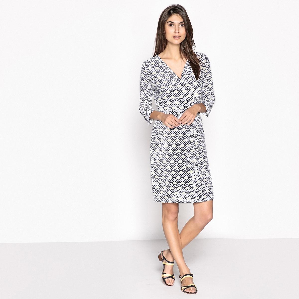 Платье-миди прямое с рисунком, длина 3/4