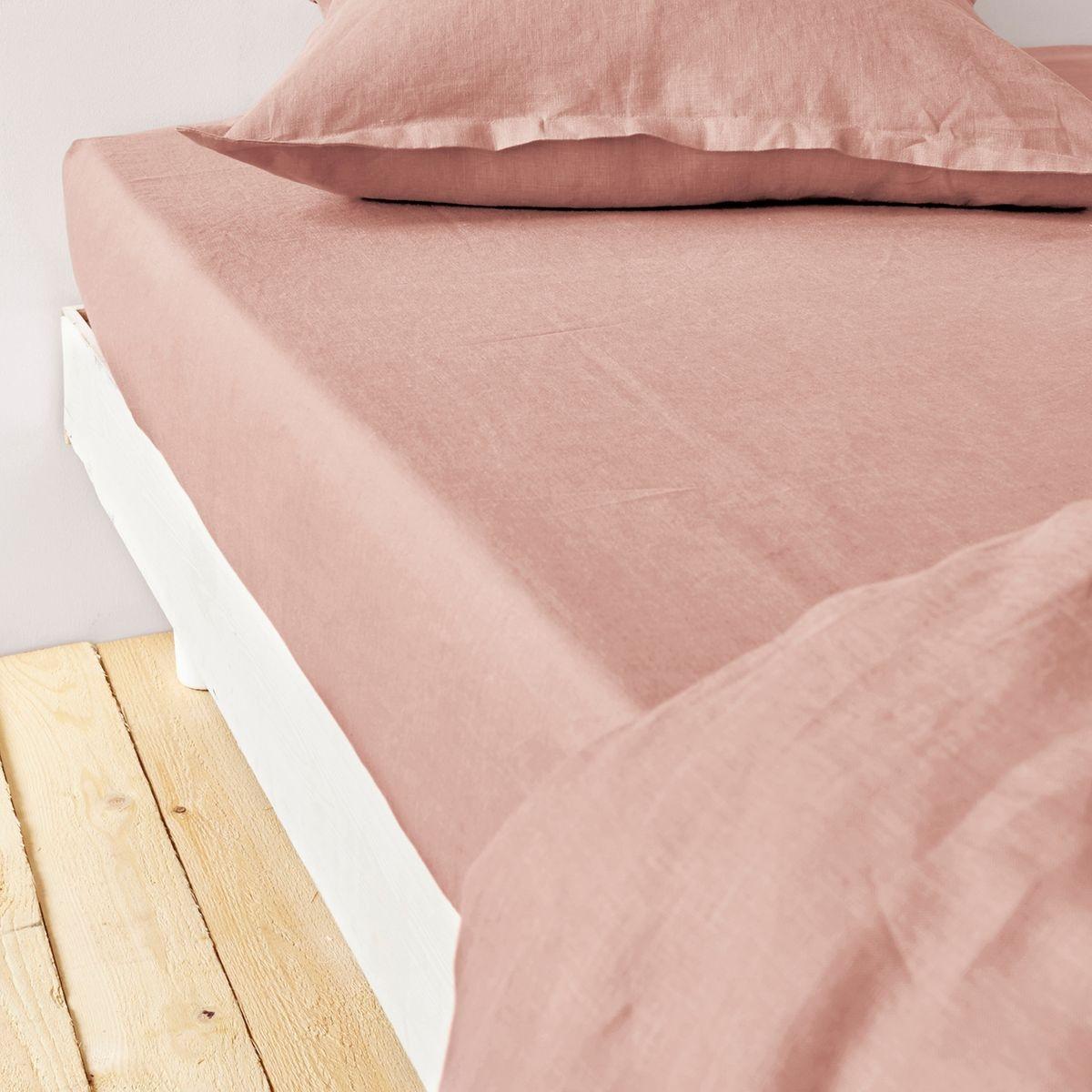 drap housse en pur lin lav. Black Bedroom Furniture Sets. Home Design Ideas