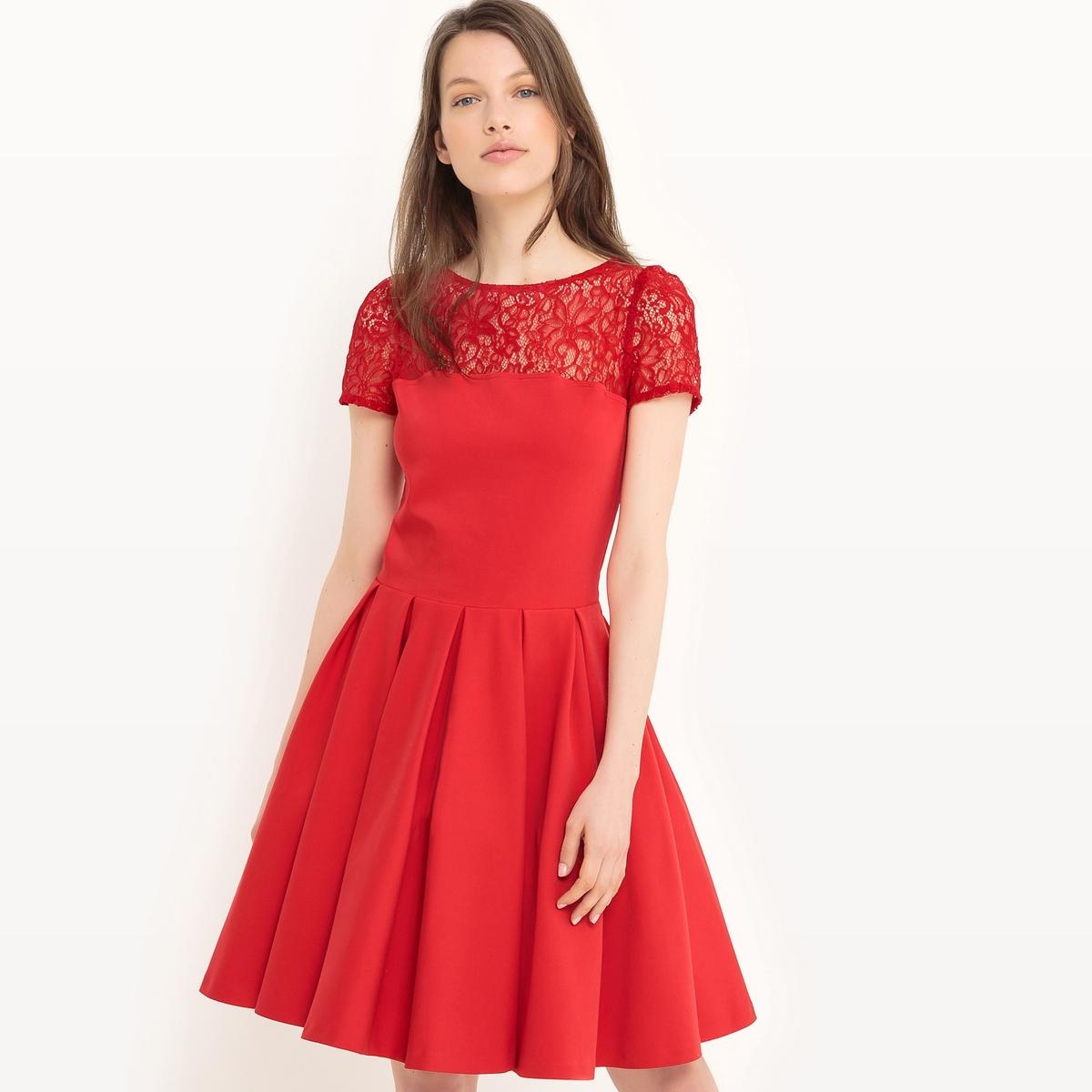 Платье расклешенное с короткими рукавами, однотонное платье расклешенное с короткими рукавами