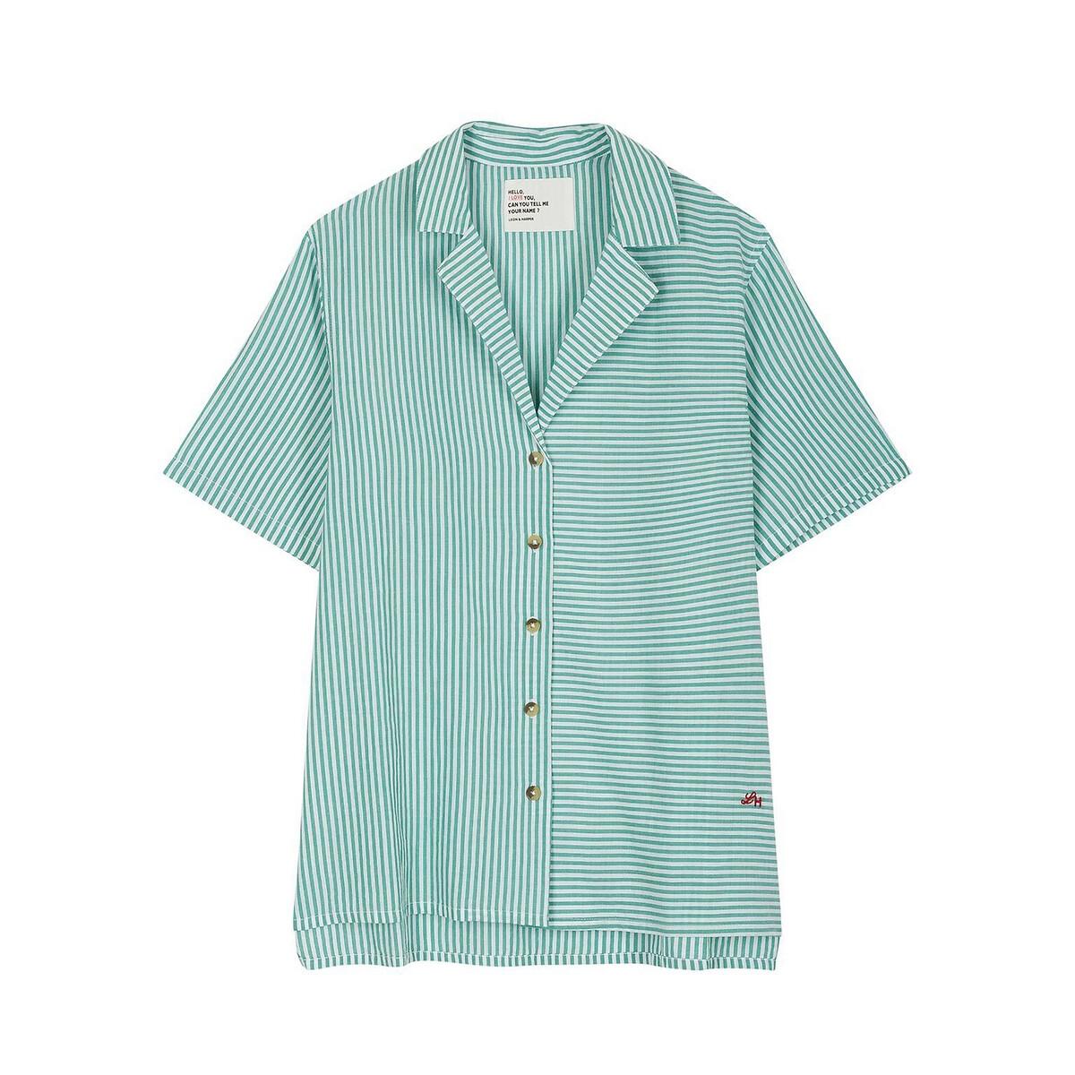 Рубашка La Redoute Из биохлопка с короткими рукавами CARAIBE M зеленый цена 2017