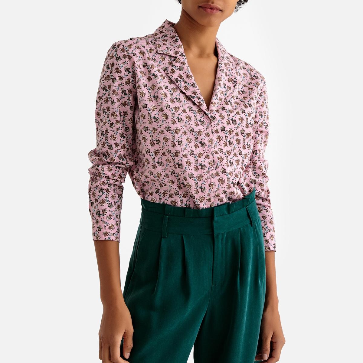 купить Рубашка La Redoute В стиле пижамы с цветочным принтом 36 (FR) - 42 (RUS) розовый дешево