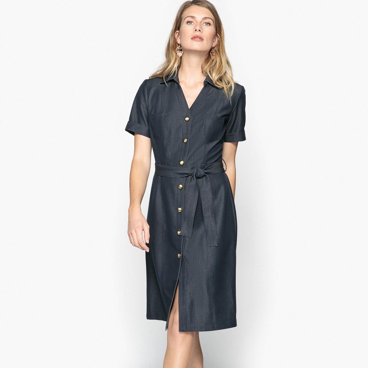 Платье расклешенное из комфортного материала стретч