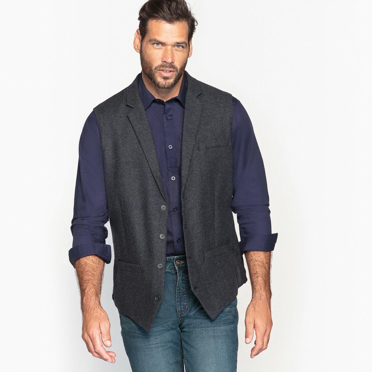 Жилет костюмный прямого покрояОписание:Стильный костюмный жилет из твида. С рубашкой и джинсами подойдет к классическому или городскому образу.Детали •  Пиджак костюмный •  Прямой покрой •  Воротник-поло, рубашечныйСостав и уход •  43% шерсти, 6% других волокон, 51% полиэстера •  Подкладка : 100% полиэстер • Не стирать •  Допускается чистка любыми растворителями / отбеливание запрещено •  Не использовать барабанную сушку •  Не гладитьТовар из коллекции больших размеров<br><br>Цвет: темно-синий<br>Размер: 56.60.58