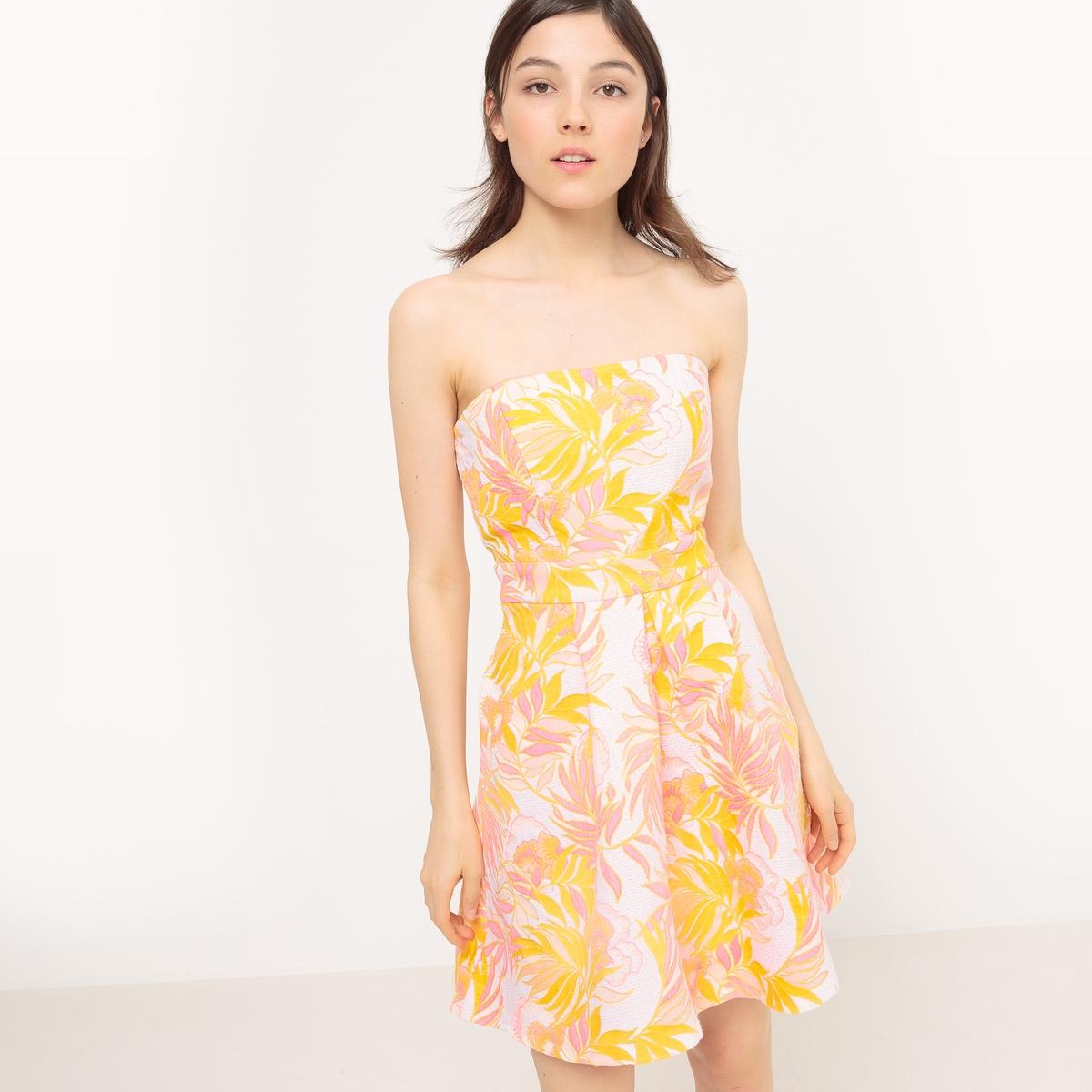 Платье-бюстье короткое с жаккардовым рисунком, без рукавов
