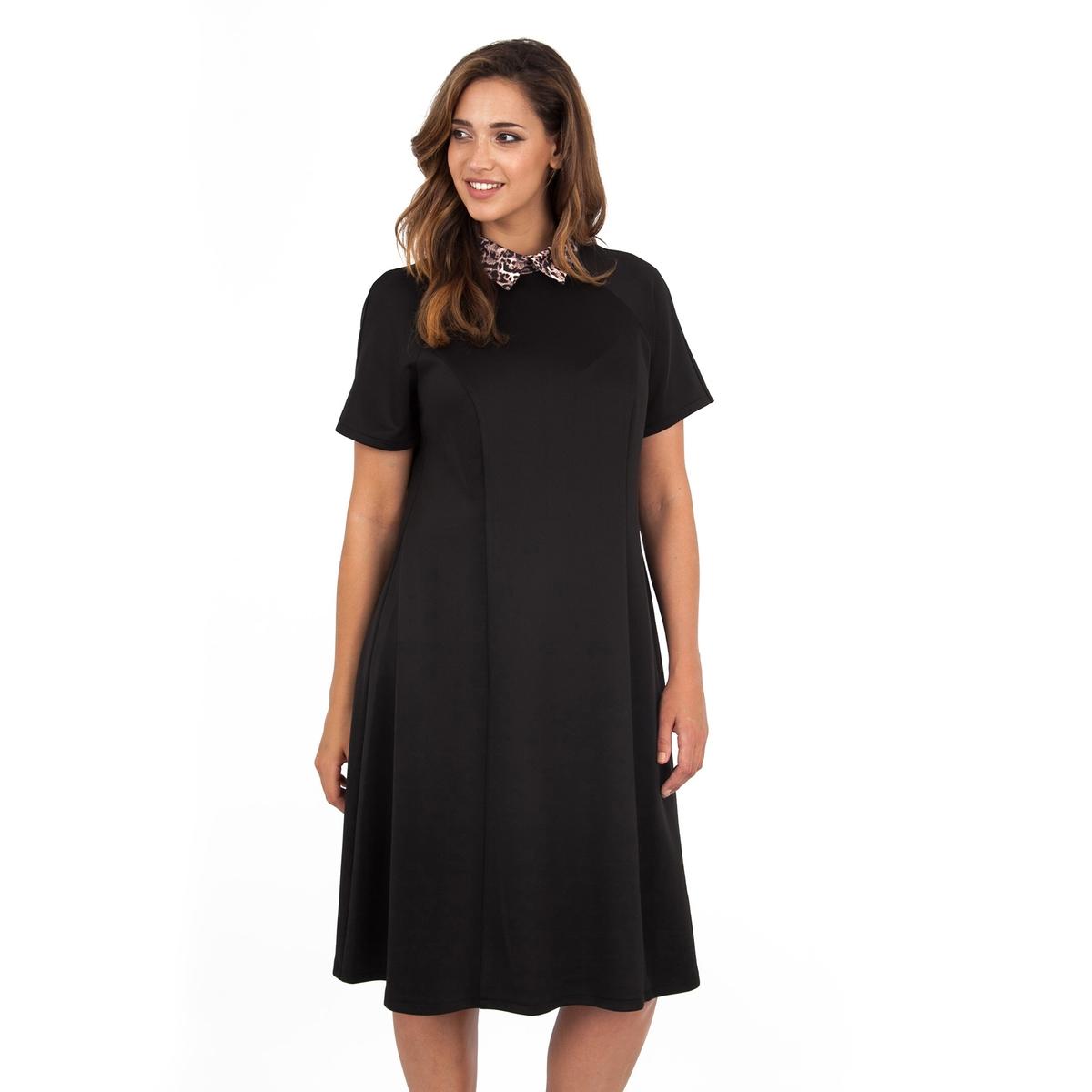 ПлатьеПлатье с короткими рукавами - KOKO BY KOKO. Воротник с узором. Длина ок.104 см. 100% полиэстера.<br><br>Цвет: черный