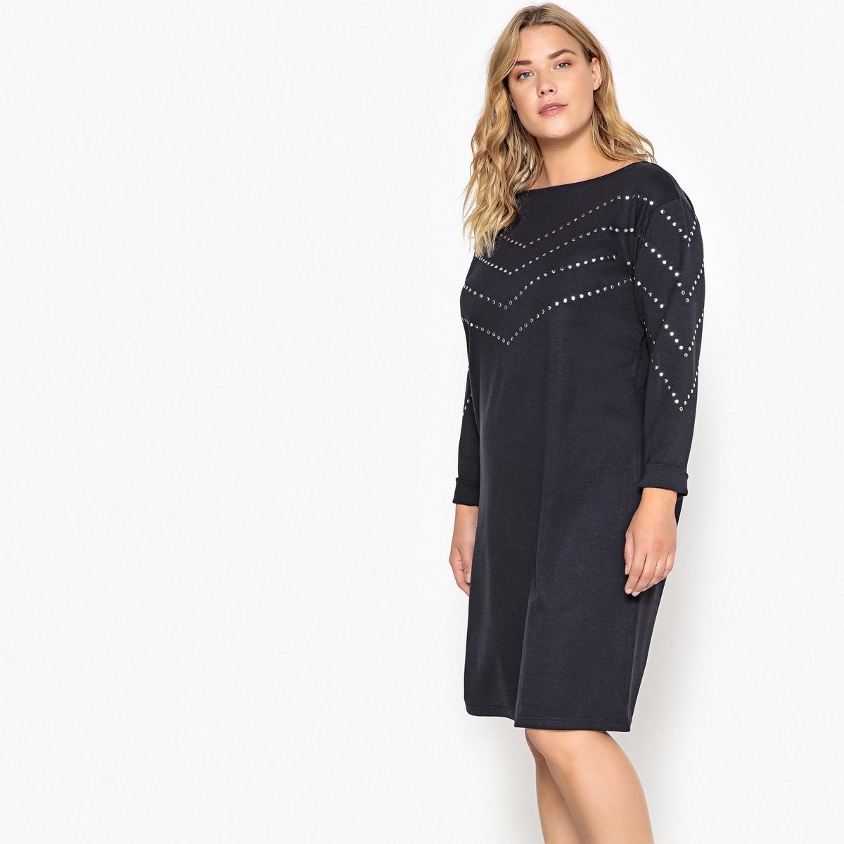 Платье прямое из трикотажа джерси с длинными рукавами