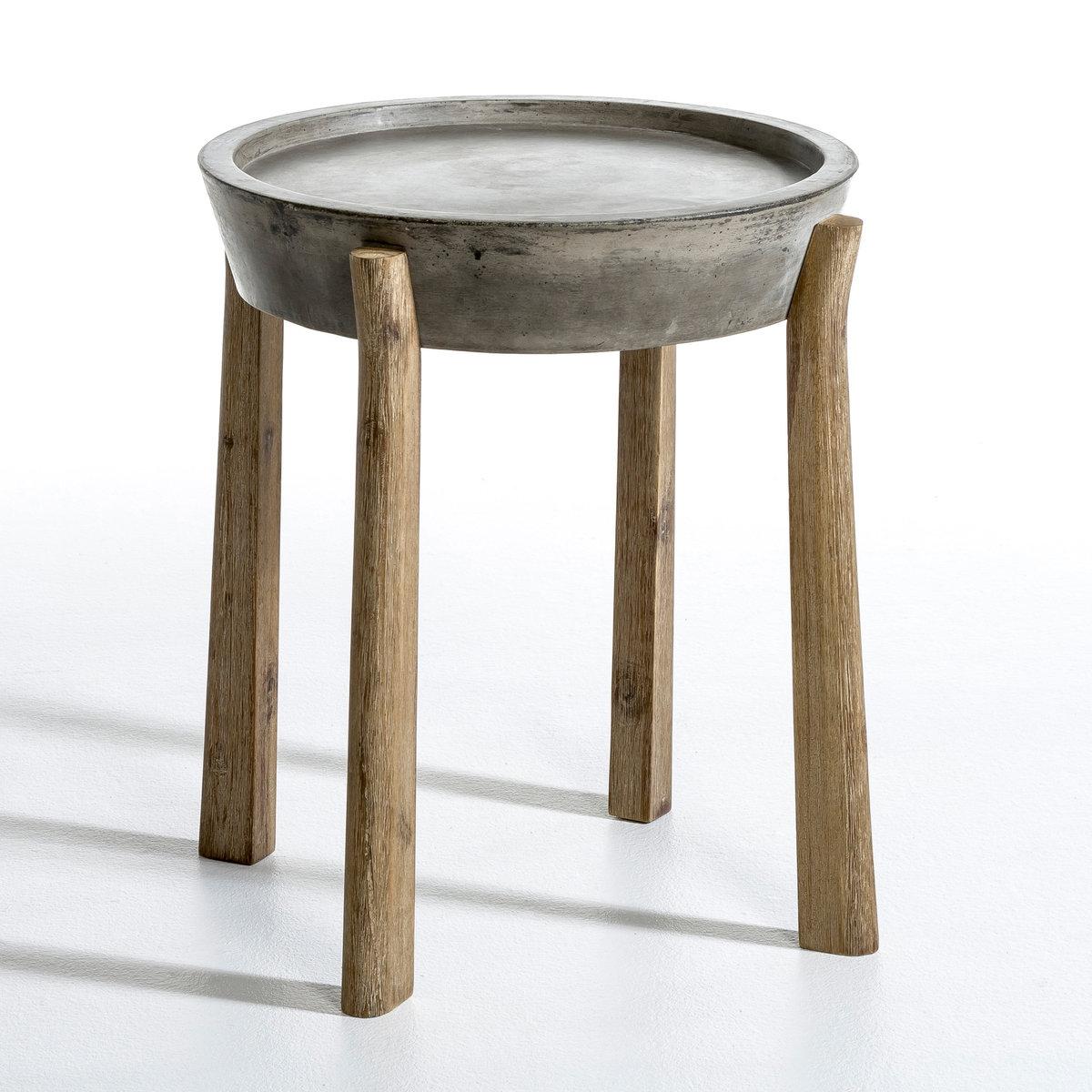 Столик MadenВся прелесть необработанных материалов . Описание :- Столешница из бетона .- Ножки из акации .Размеры :- Столешница : ?.45 см .- .52 x .52 x .55 см.    Размеры и вес ящика :- 62 x .31 x .64 см<br><br>Цвет: серый