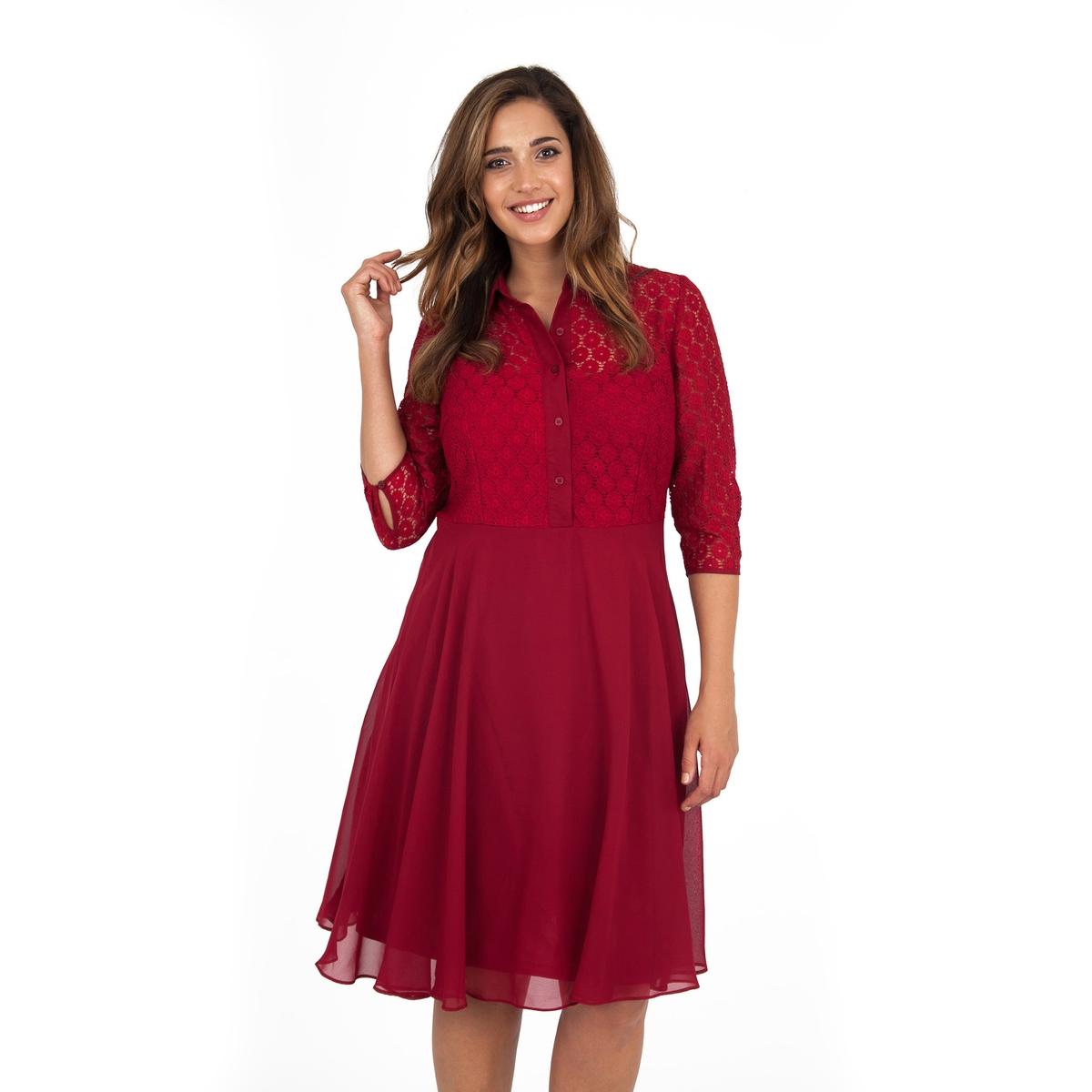 ПлатьеПлатье с рукавами 3/4 - KOKO BY KOKO. Элегантное платье притягательного красного цвета с рукавами 3/4 и рубашечным воротником из прозрачного кружева. Длина ок.104 см. 100% полиэстера.<br><br>Цвет: бордовый<br>Размер: 44 (FR) - 50 (RUS)