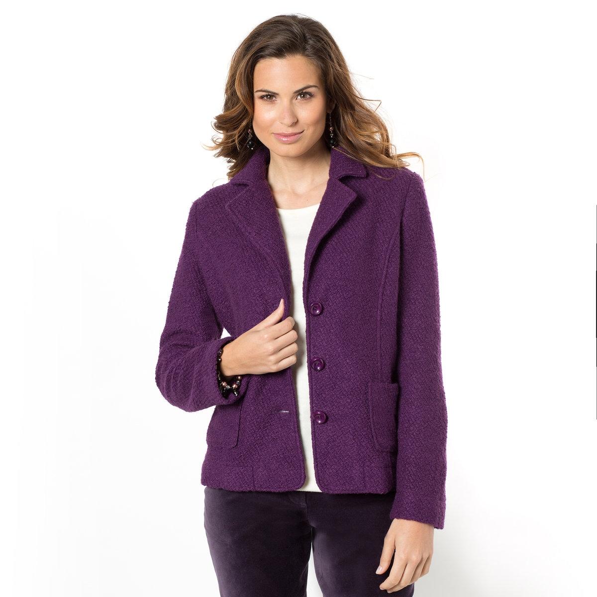 Жакет, 26% шерсти<br><br>Цвет: фиолетовый<br>Размер: 40 (FR) - 46 (RUS).50 (FR) - 56 (RUS)