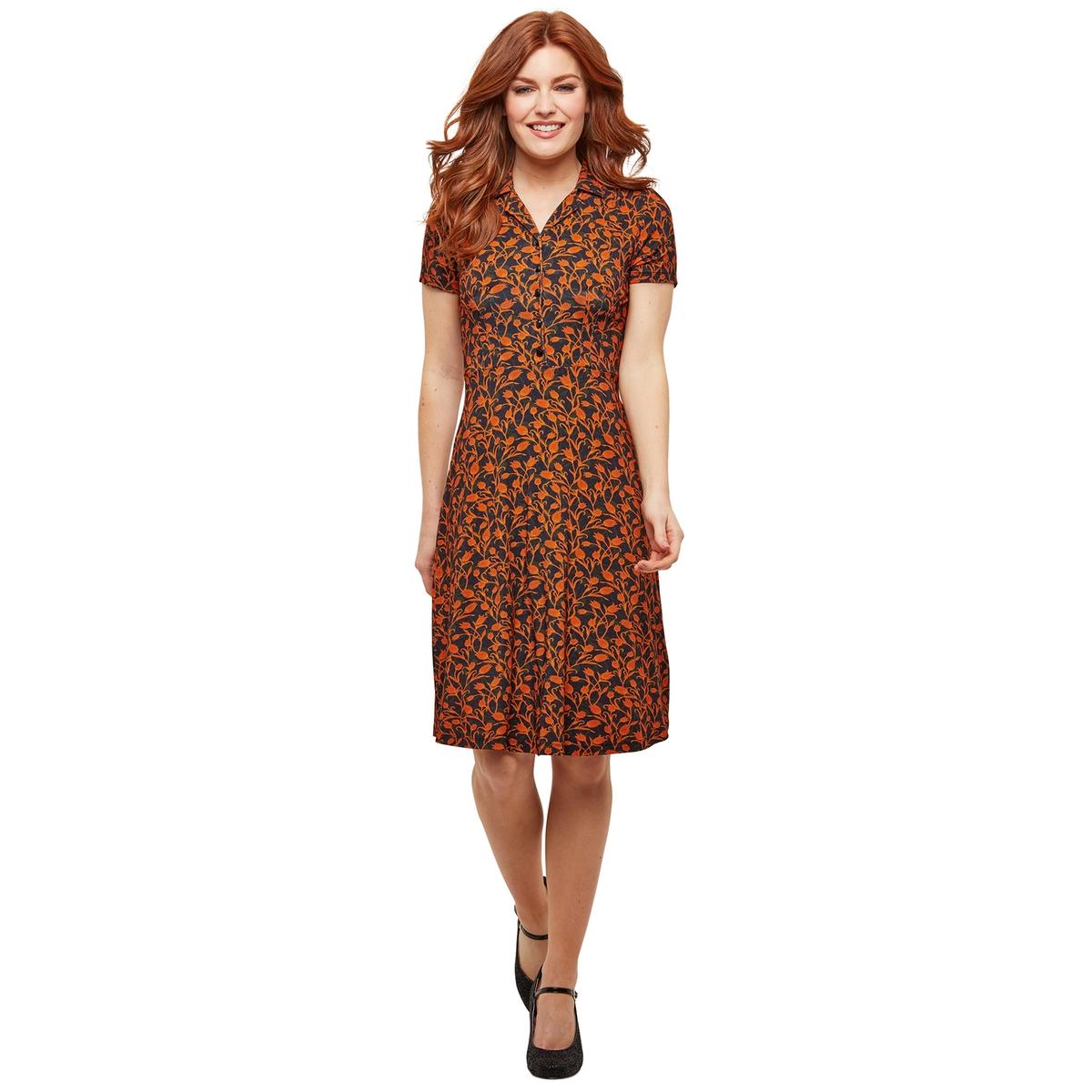 Платье La Redoute Короткое расклешенное с цветочным рисунком и рубашечным воротником 36 (FR) - 42 (RUS) черный стоимость