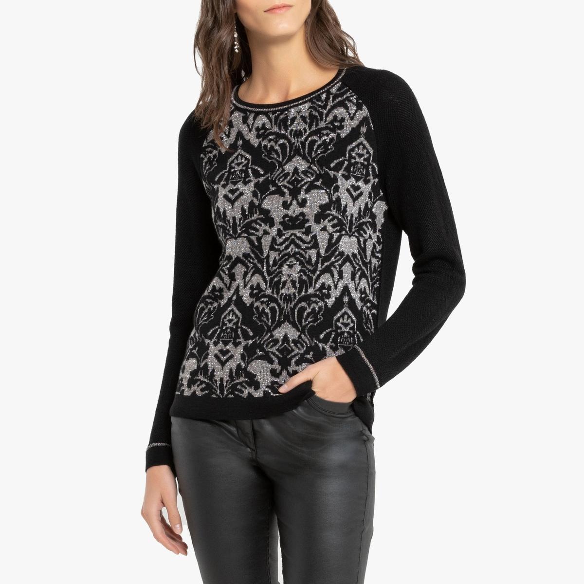Пуловер La Redoute С круглым вырезом из тонкого жаккардового трикотажа 42/44 (FR) - 48/50 (RUS) черный пуловер la redoute в форме пончо 42 44 fr 48 50 rus черный