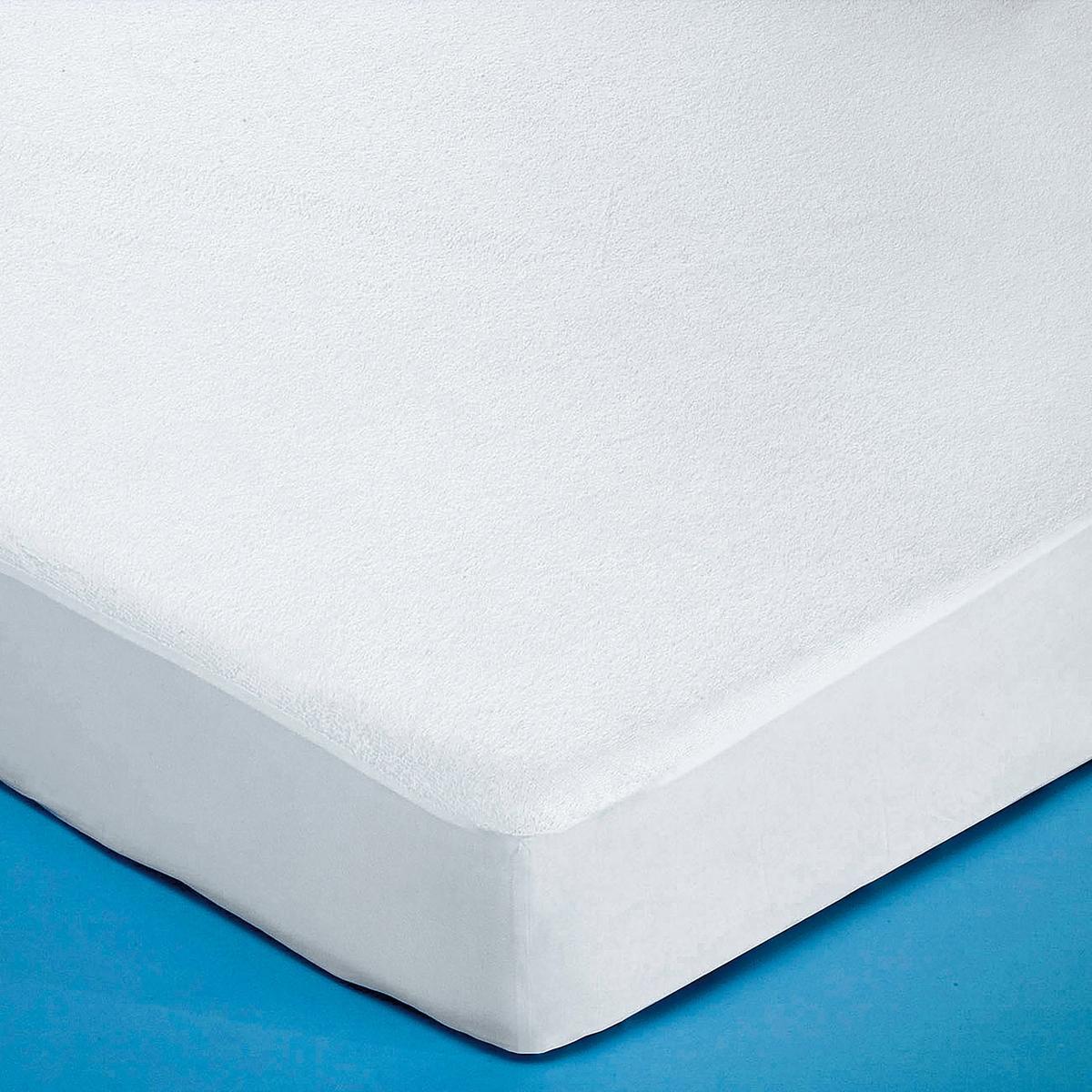 цена на Чехол La Redoute Защитный для матраса из махровой ткани с завитым ворсом на полиуретане 90 x 190 см белый