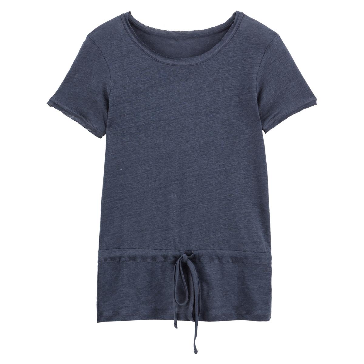T-shirt em linho, gola redonda para atar
