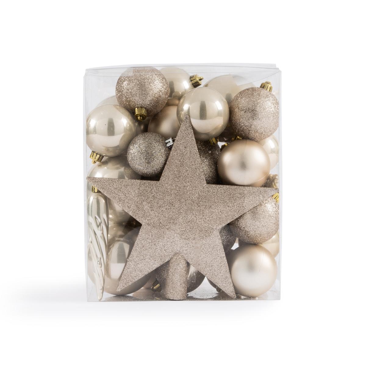 Набор La Redoute Из новогодних украшений жемчужного цвета Caspar единый размер серый набор новогодних подвесных украшений b
