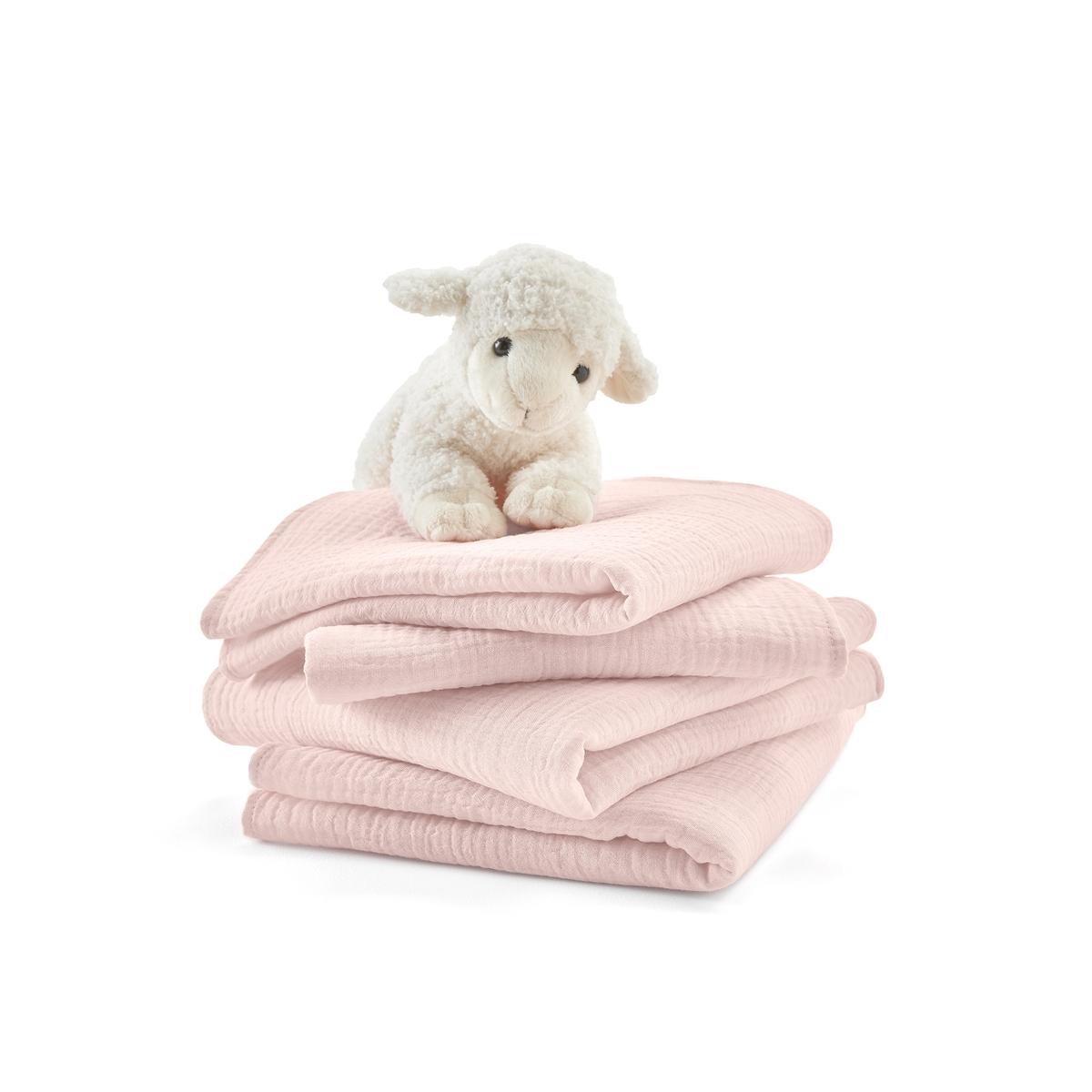 Комплект из 4 пеленок для LaRedoute Малышей из хлопчатобумажной газовой ткани Kumla единый размер розовый