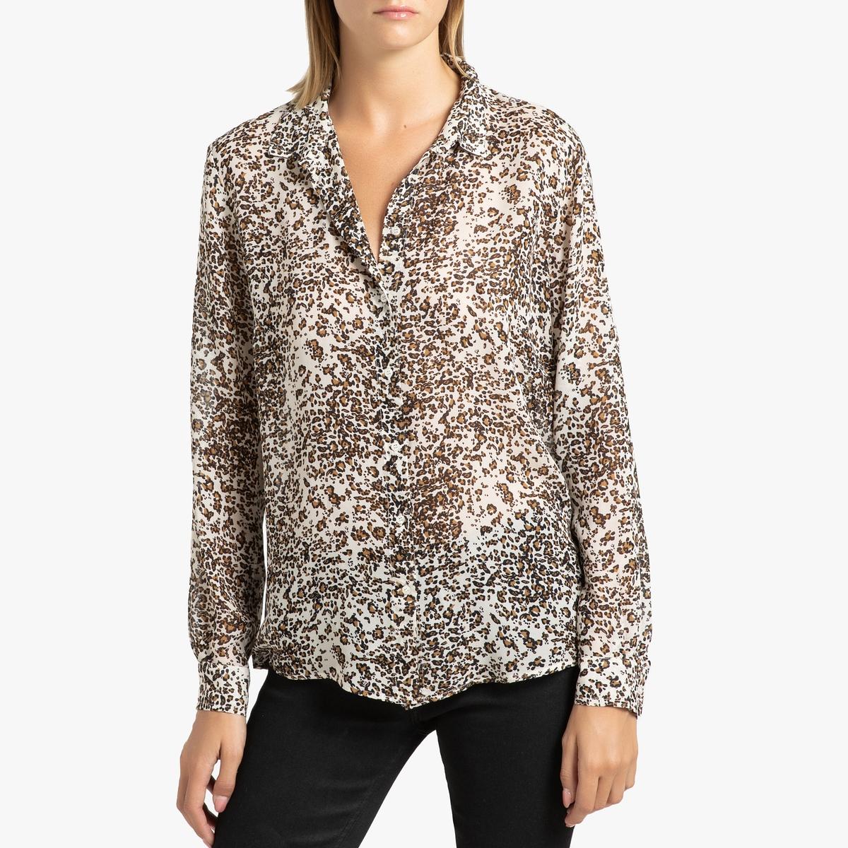 Рубашка La Redoute Из вуали с принтом и длинными рукавами 38 (FR) - 44 (RUS) разноцветный цена 2017