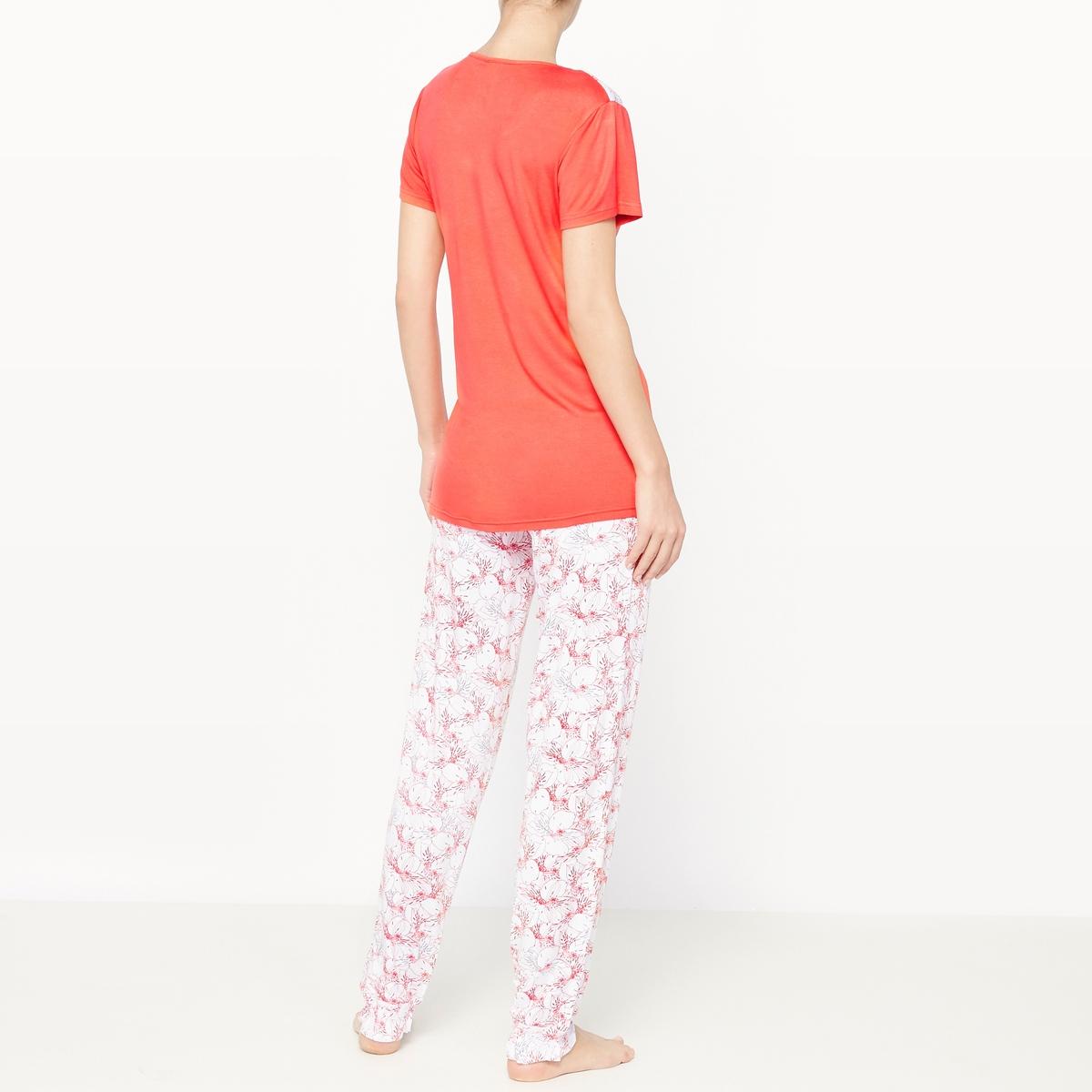 Пижама с короткими рукавами EscapeСостав и описание :Материал : 95% вискозы, 5% эластанаМарка : Dodo Уход :Машинная стирка при 30 °C с вещами схожих цветов<br><br>Цвет: оранжево-красный