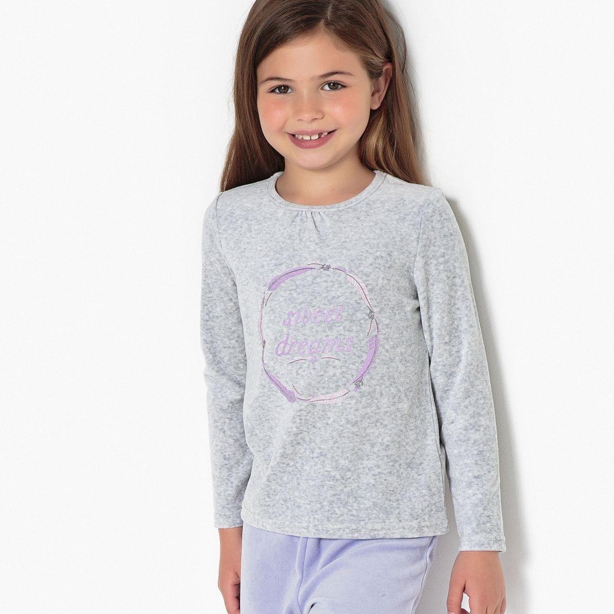 Pyjama 2 pièces, velours, imprimé, 3-12 ans