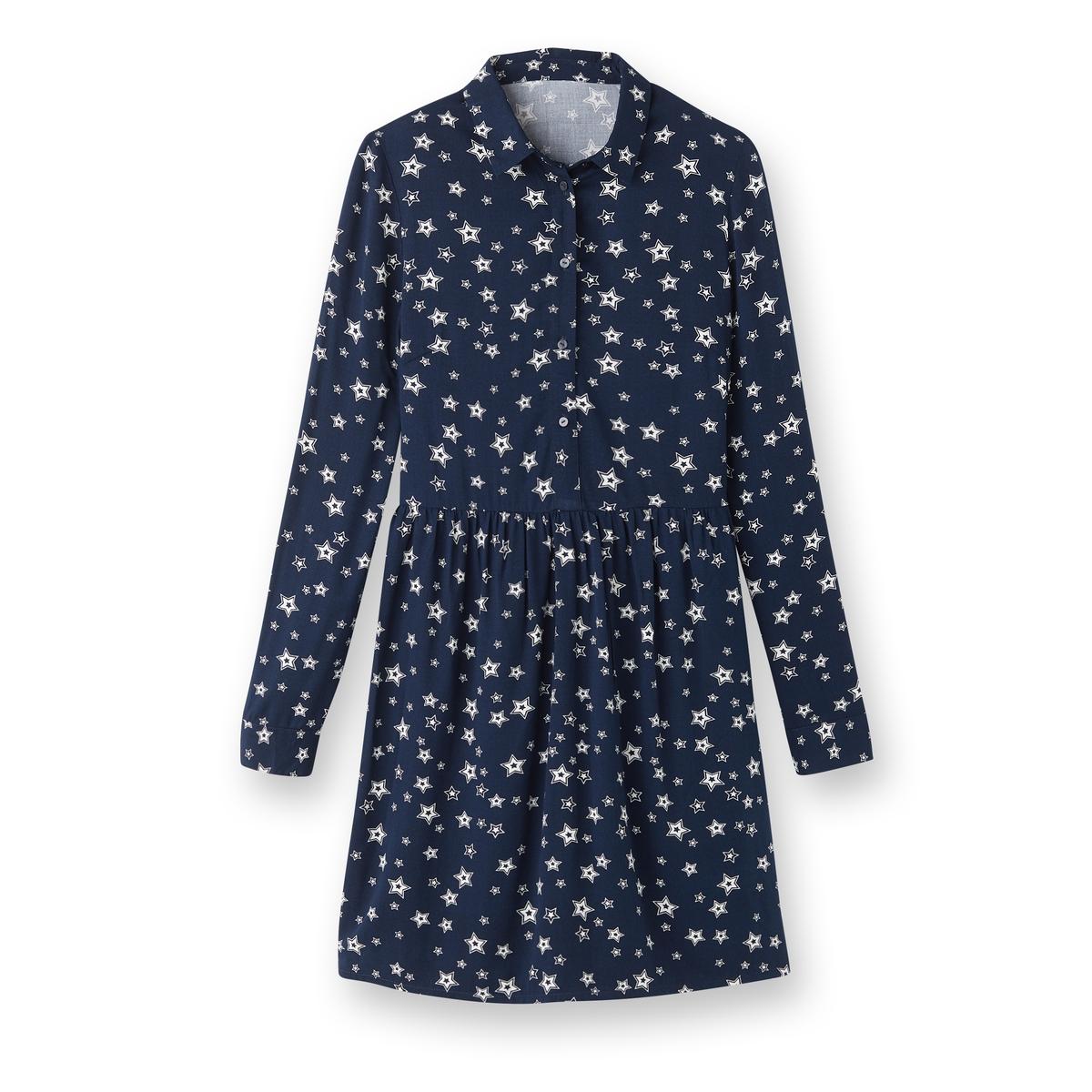 Платье-рубашка из вискозы с рисунком звездыДетали •  Форма : расклешенная •  Длина до колен •  Длинные рукава     •  Воротник-поло, рубашечный  •  Рисунок-принтСостав и уход •  33% вискозы, 5% эластана, 62% полиэстера •  Температура стирки 30°   •  Сухая чистка и отбеливание запрещены    •  Не использовать барабанную сушку   •  Низкая температура глажки<br><br>Цвет: рисунок/фон темно-синий<br>Размер: 44 (FR) - 50 (RUS).40 (FR) - 46 (RUS).50 (FR) - 56 (RUS).36 (FR) - 42 (RUS).38 (FR) - 44 (RUS)