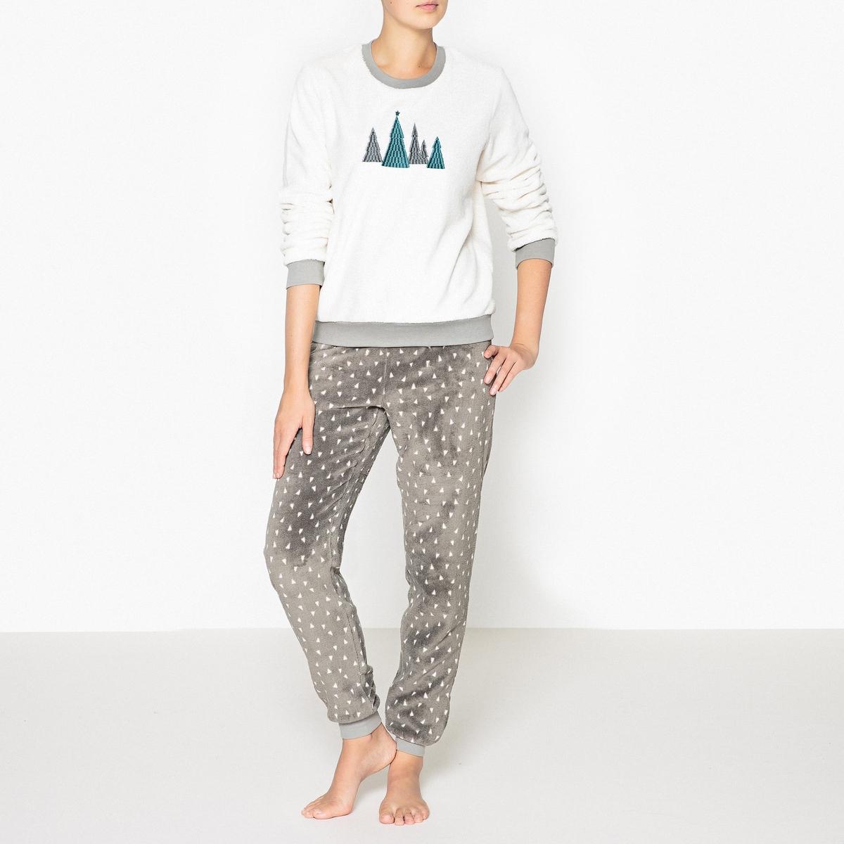 Пижама теплая с принтомРаздельная пижама с очаровательным рисунком и искусной отделкой идеальна для зимних вечеров   ! Состав и описаниеПижама раздельная с круглым вырезом и длинными рукавами .Эластичные брюки на уровне щиколоток, эластичный пояс и завязки с бантиком Материал : 100% полиэстер Длина: Высота : 62 см Длина по внутр.шву : 76 смУход: :Стирать с вещами подобного цвета при 30°.Стирать и сушить с изнаночной стороны.<br><br>Цвет: белый/ антрацит<br>Размер: 34/36 (FR) - 40/42 (RUS).50/52 (FR) - 56/58 (RUS).46/48 (FR) - 52/54 (RUS).42/44 (FR) - 48/50 (RUS).38/40 (FR) - 44/46 (RUS)