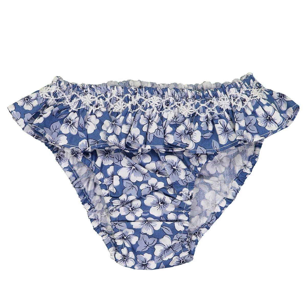 Maillot de bain volant en coton - motif fleuri