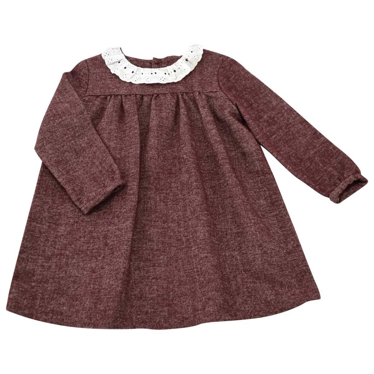 Robe coton effet tweed bordeaux col écru brodé