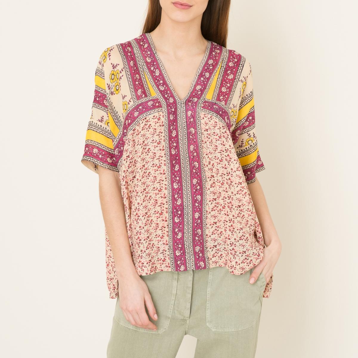 Блузка с короткими рукавамиСостав и описание   Материал : 100% вискоза   Марка : STELLA FOREST<br><br>Цвет: розовый