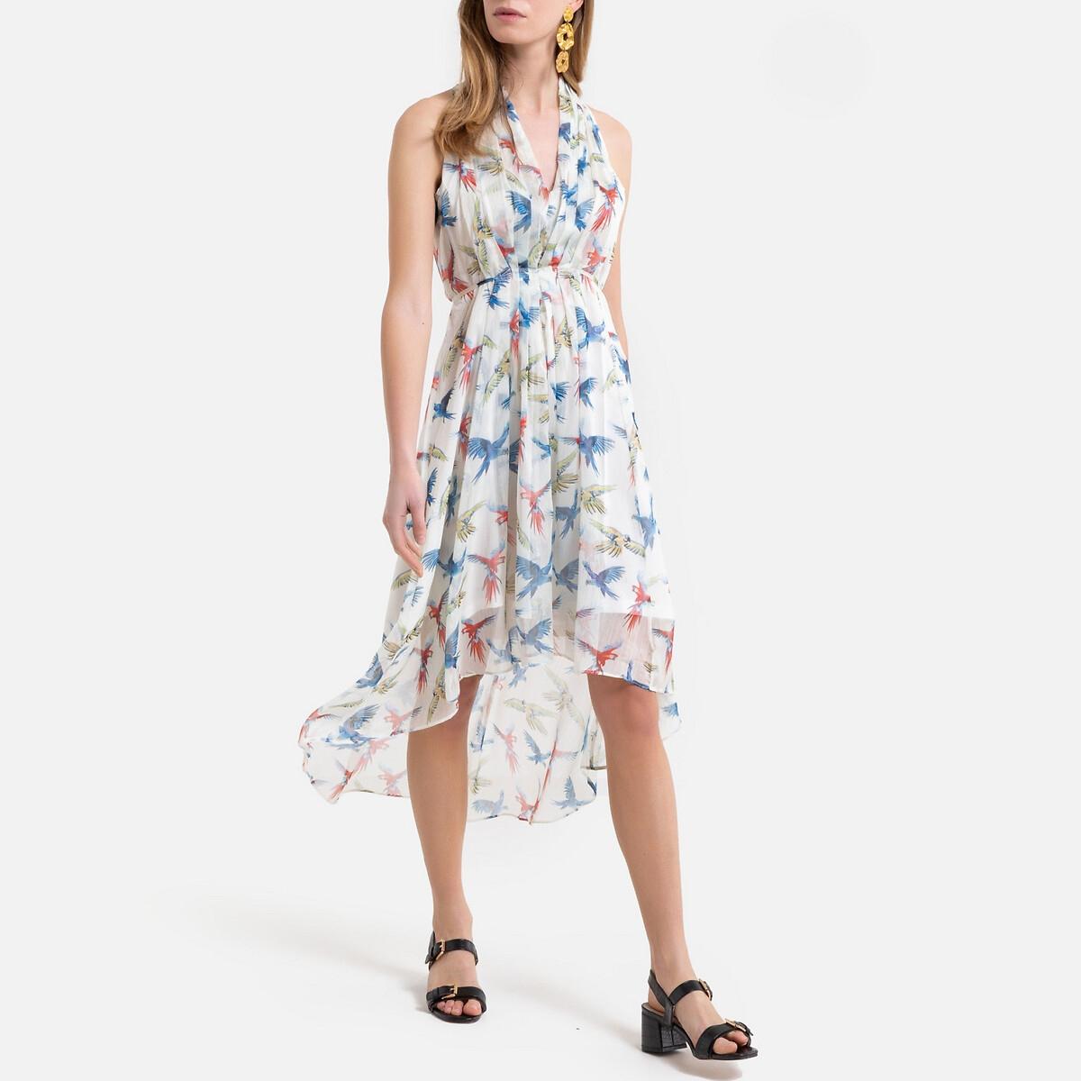Платье La Redoute Длинное асимметричное с рисунком S белый платье la redoute длинное amandine s разноцветный