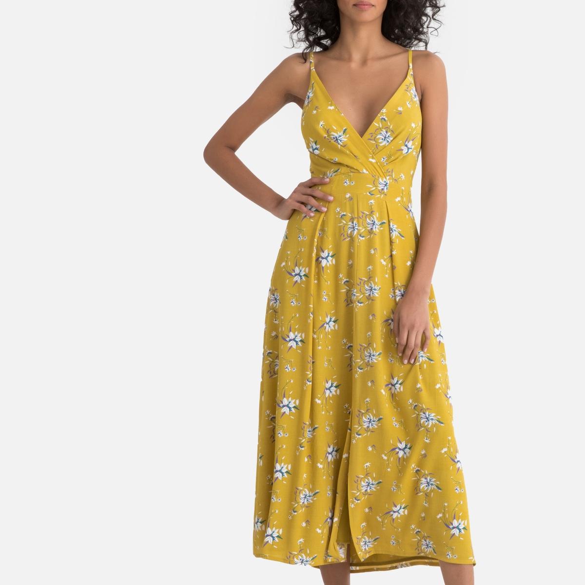 Платье La Redoute Длинное с цветочным рисунком открытой спинкой и завязками на бант сзади S желтый платье прямое с цветочным рисунком и контрастной полосой сзади
