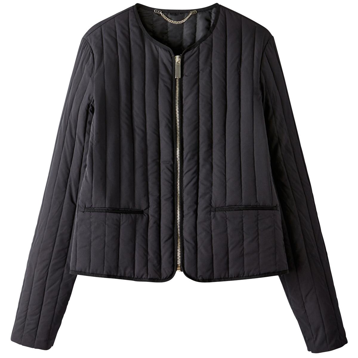 Куртка стеганая тонкая без воротникаОчень женственная стеганая куртка с коротким и прямым покроем . Очень удобная куртка с тонким наполнителем из пуха и пера Детали •  Длина : укороченная   •  Круглый вырез •  Застежка на молниюСостав и уход •  28% полиамида, 72% полиэстера •  Наполнитель : 90% пуха, 10% пера •  Температура стирки при 30° на деликатном режиме   •  Деликатная чистка/без отбеливателей •  Не использовать барабанную сушку   •  Не гладить •  Длина : 54 см<br><br>Цвет: темно-бежевый,черный<br>Размер: 36 (FR) - 42 (RUS).34 (FR) - 40 (RUS).50 (FR) - 56 (RUS).48 (FR) - 54 (RUS).48 (FR) - 54 (RUS).38 (FR) - 44 (RUS).38 (FR) - 44 (RUS)