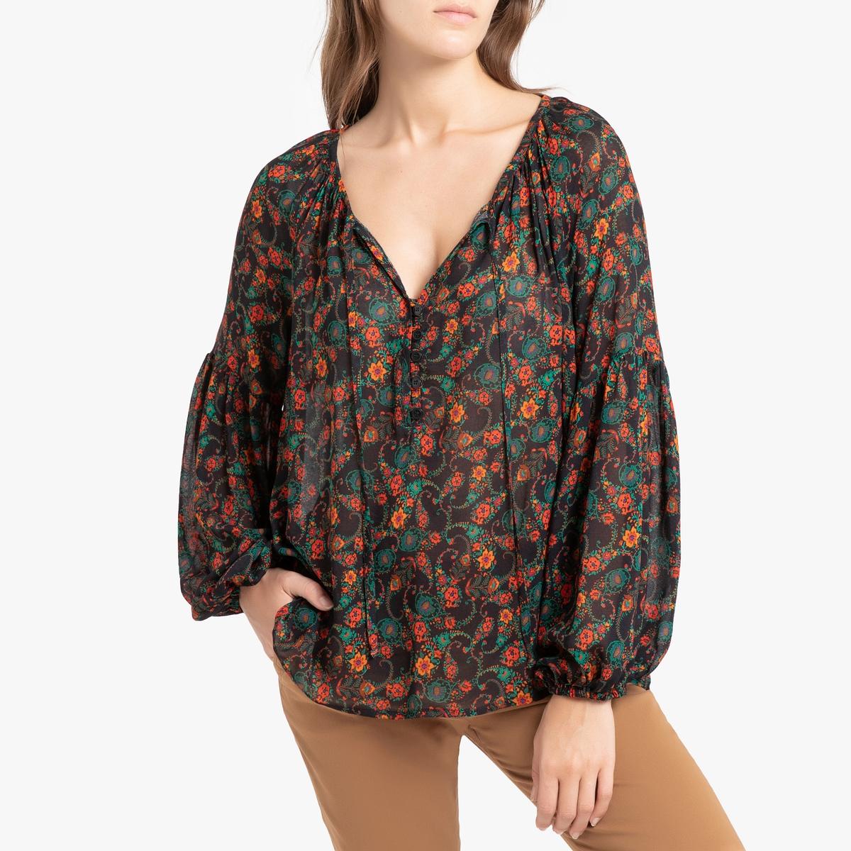 Блуза La Redoute С длинными рукавами 36 (FR) - 42 (RUS) разноцветный блузка la redoute в клетку с украшениями на вырезе 36 fr 42 rus синий