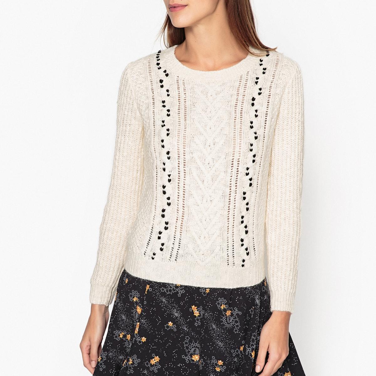 Трикотажный пуловер с узором косы