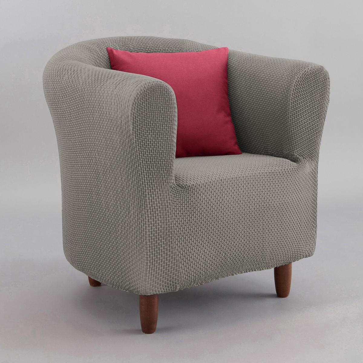 Чехол для креслаИз эластичной гофрированной ткани, 55% хлопка, 40% полиэстера, 5% эластана. Стирка при 30°. Эластичный низ.<br><br>Цвет: антрацит,красный,серо-коричневый каштан,серый,экрю<br>Размер: единый размер.единый размер