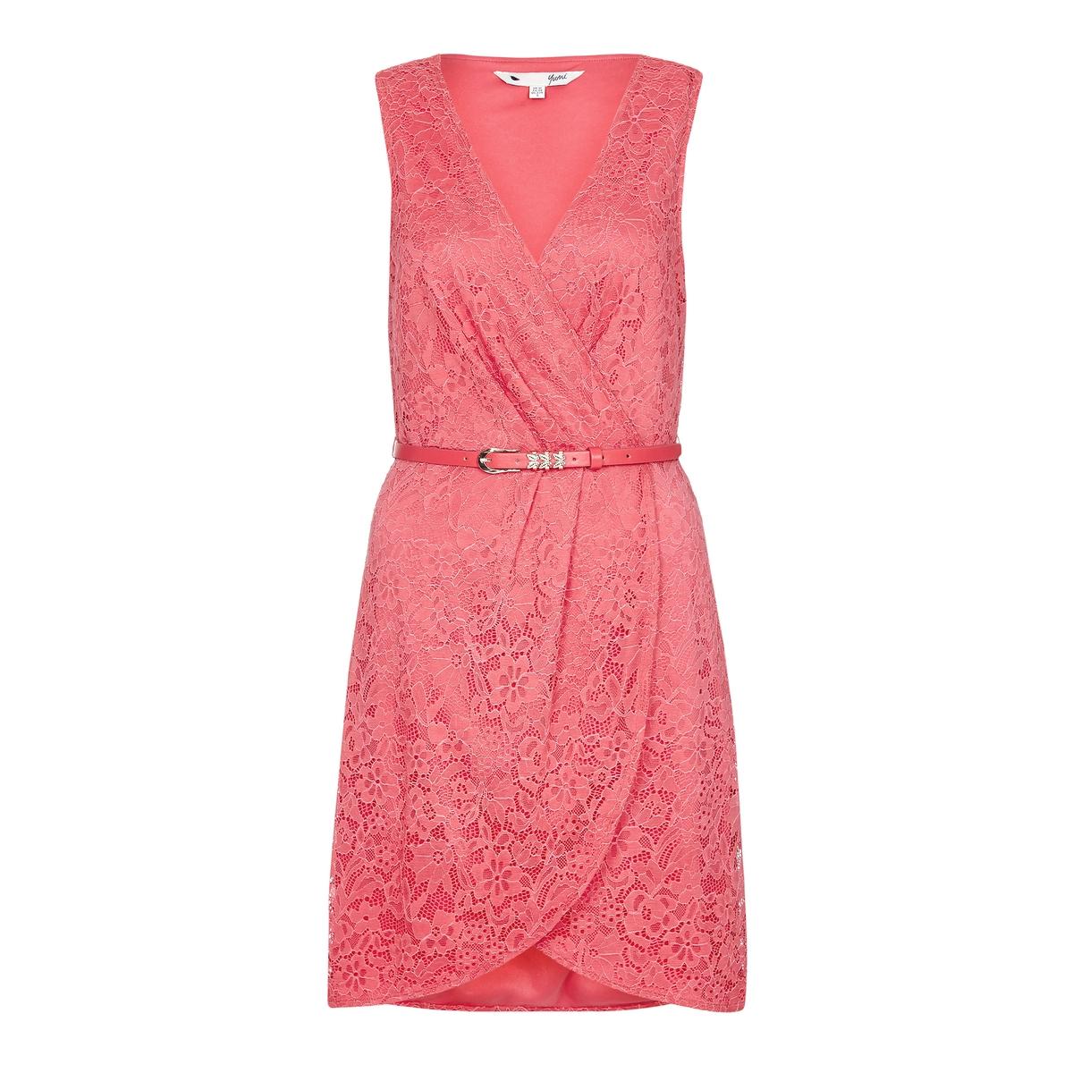 где купить  Платье из кружева без рукавов, с поясом  по лучшей цене
