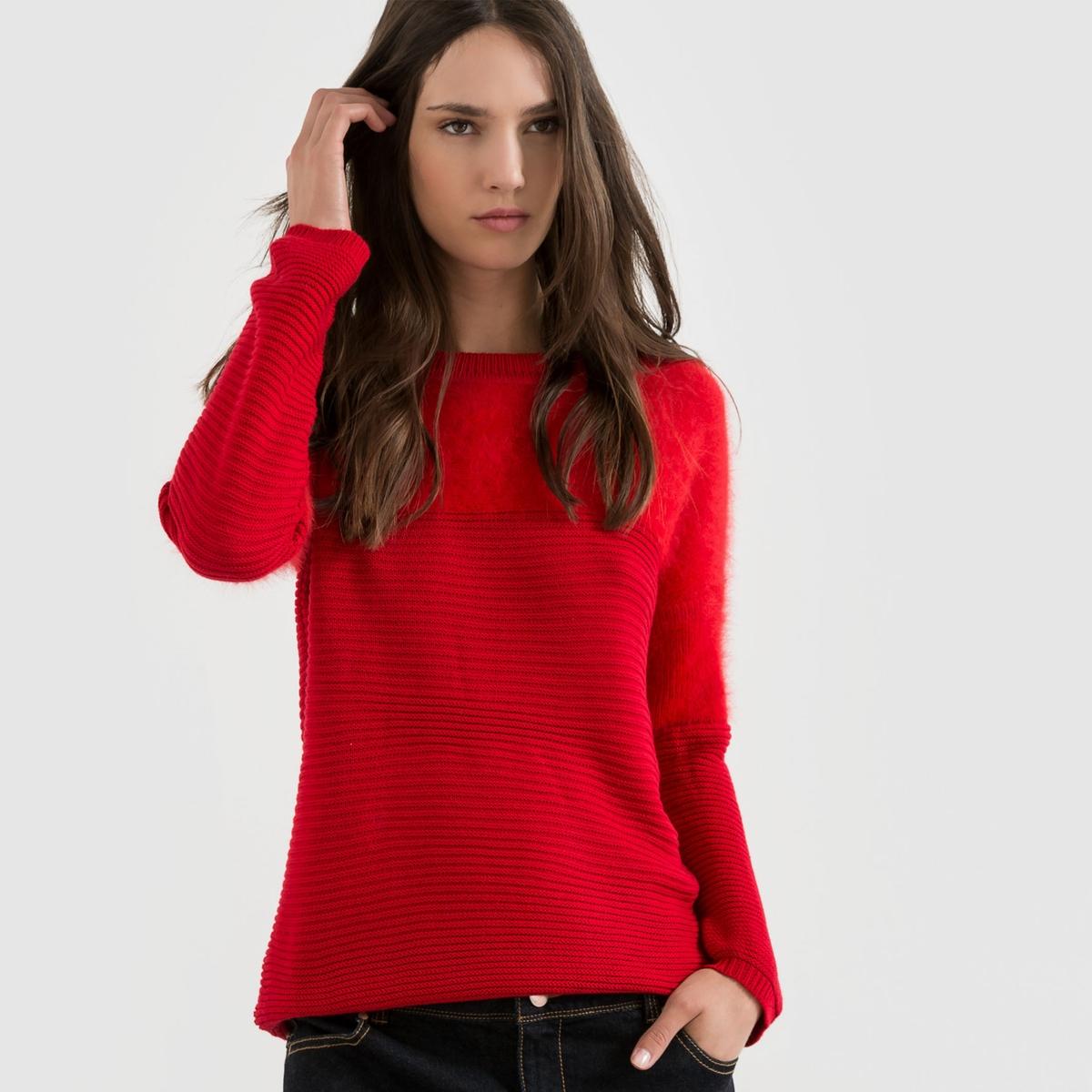 Пуловер с круглым вырезом и пушистым верхом