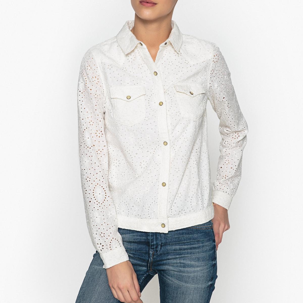 Рубашка с длинными рукавами с английским кружевом maison scotch футболка с длинными рукавами