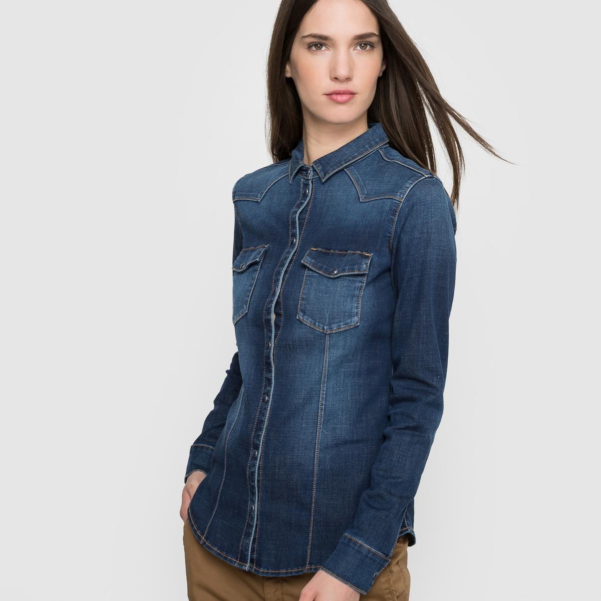 Рубашка джинсовая ESPRITСостав и описаниеМатериал : 62% хлопка, 25% полиэстера, 11% вискозы, 2% эластана Длина : 64 смМарка : ESPRIT.<br><br>Цвет: темно-синий<br>Размер: XL
