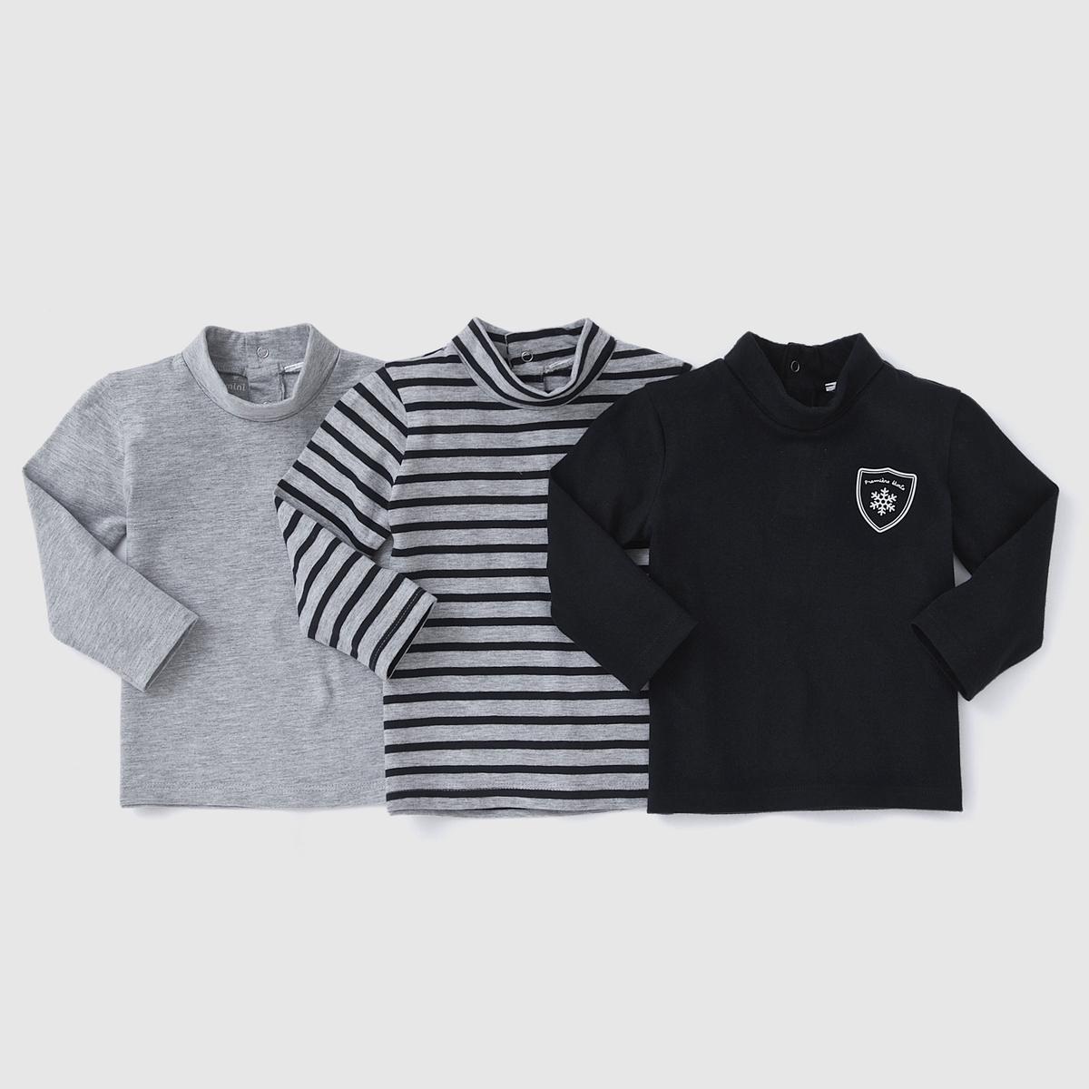3 футболки с закатывающимся воротником 1 мес-3 лет от La Redoute