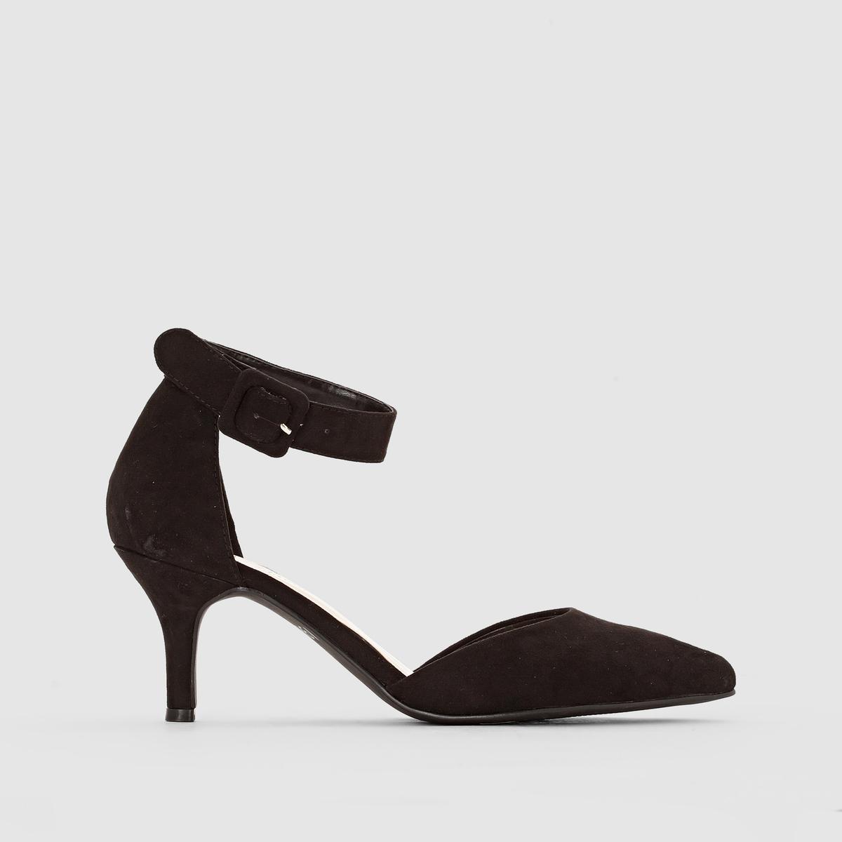 Туфли-лодочки с ремешкамиВерх : синтетика        Подкладка : синтетика     Стелька : синтетика      Подошва : эластомер     Высота каблука : 10,5 см      Застежка : ремешок с пряжкой     Марка: R Edition.     Преимущества : сложно представить себе более модные туфли, чем эти лодочки: узкий носок, высокий каблук и ремешок вокруг щиколотки.<br><br>Цвет: фиолетовый<br>Размер: 40