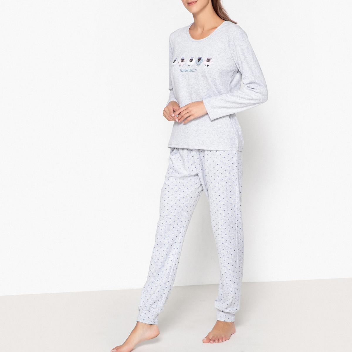 Пижама из велюра с рисунком брюки скинни из велюра